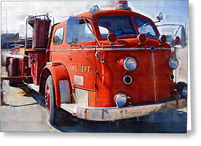 Oil Pumper Digital Greeting Cards - 1954 American LaFrance Classic Fire Engine Truck Greeting Card by Kathy Clark