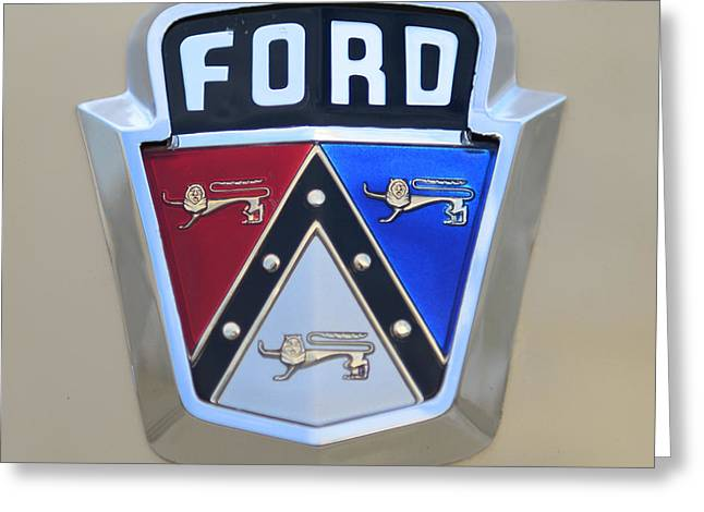 Collector Hood Ornament Greeting Cards - 1954 Ford Customline Emblem Close Up Greeting Card by Paul Ward