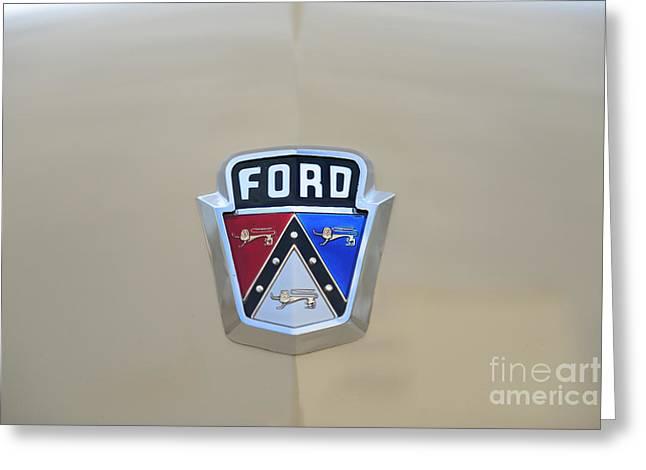 Ford Customline Greeting Cards - 1954 Ford Customline Emblem Greeting Card by Paul Ward