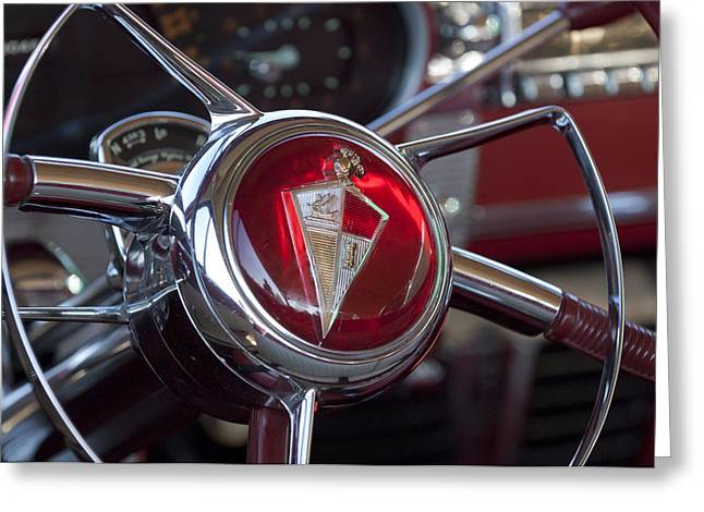 Steering Drawings Greeting Cards - 1954 Hudson Steering Wheel Greeting Card by Jill Reger