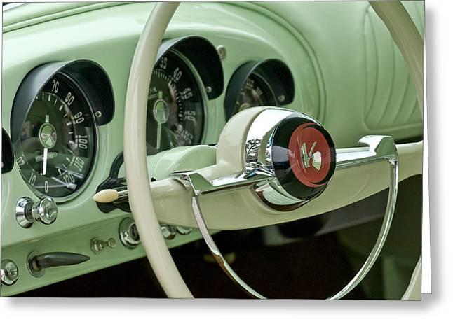 1954 Kaiser Darrin Steering Wheel Greeting Card by Jill Reger