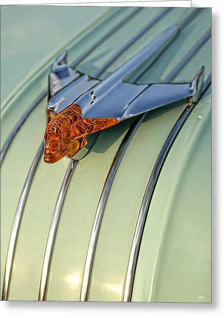 Pontiac Motors Division Greeting Cards - 1954 Pontiac Chieftain Hood Ornament Greeting Card by Gordon Dean II