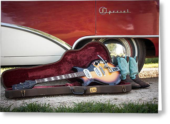 1955 Buick Greeting Cards - 1955 Buick Special Meets 1957 Magnatone Mark V Guitar Greeting Card by Toni Thomas