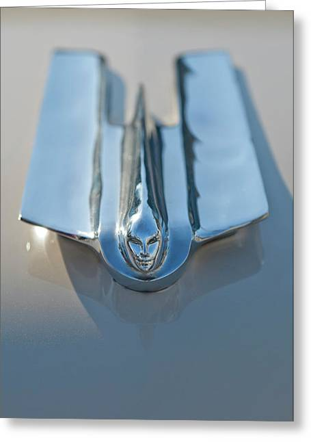 Car Mascot Greeting Cards - 1955 Cadillac Coupe Hood Ornament Greeting Card by Jill Reger