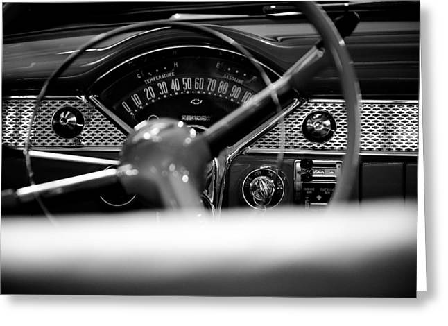 Cars Greeting Cards - 1955 Chevy Bel Air Dashboard in Black and White Greeting Card by Sebastian Musial