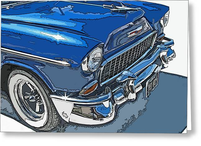 Sheats Greeting Cards - 1955 Chevy Bel Air Front Study Greeting Card by Samuel Sheats