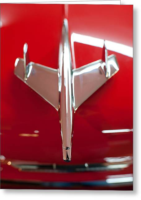 Chevrolet Photographs Greeting Cards - 1955 Chevy Belair Hood Ornament Greeting Card by Sebastian Musial
