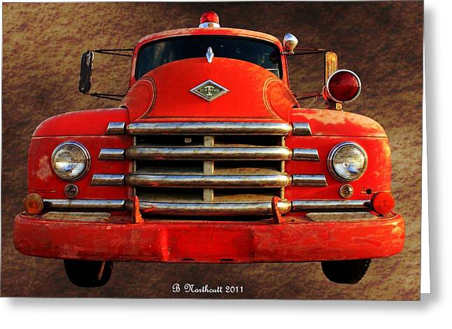 Betty Northcutt Greeting Cards - 1955 Diamond T Grille - The Cadillac Of Trucks Greeting Card by Betty Northcutt