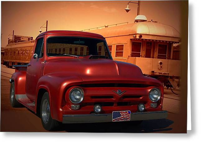 1956 Ford Truck Greeting Cards - 1955 Ford F100 Pickup with 56 Grill Greeting Card by Tim McCullough