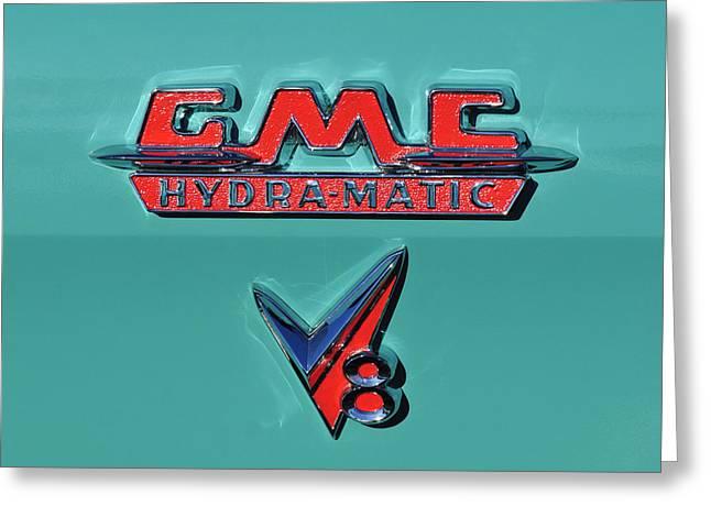 Car Carrier Greeting Cards - 1955 GMC Suburban Carrier Pickup Truck Emblem Greeting Card by Jill Reger