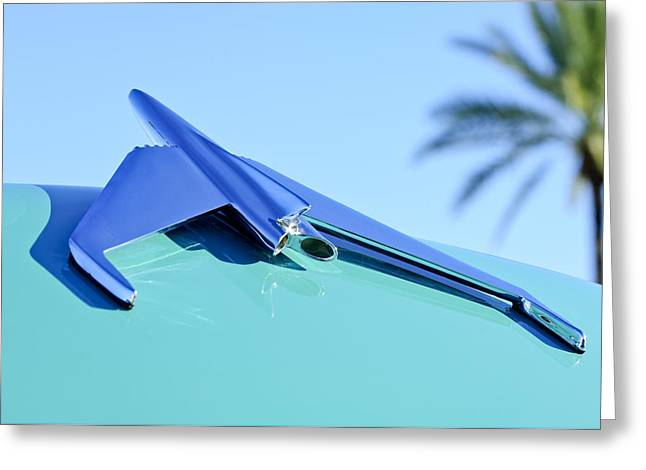 Car Carrier Greeting Cards - 1955 GMC Suburban Carrier Pickup Truck Hood Ornament Greeting Card by Jill Reger