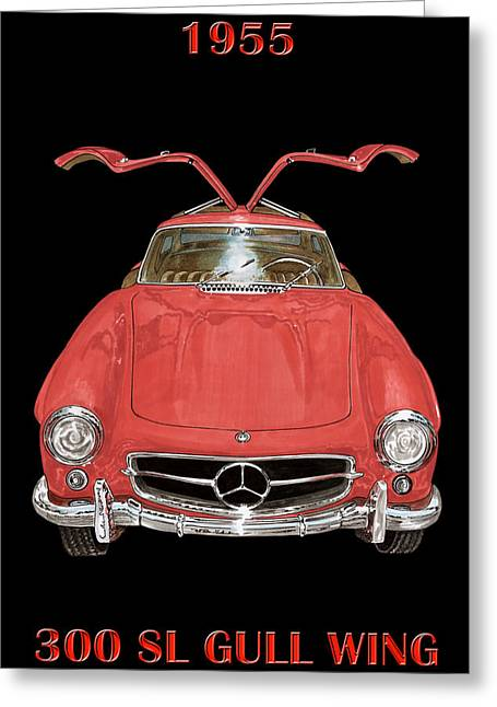 1955 Paintings Greeting Cards - 1955 Mercedes Benz 300SL Gull Wing  Greeting Card by Jack Pumphrey