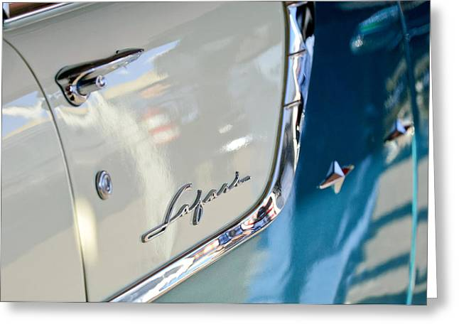 Station Wagon Greeting Cards - 1955 Pontiac Safari Station Wagon Emblem Greeting Card by Jill Reger