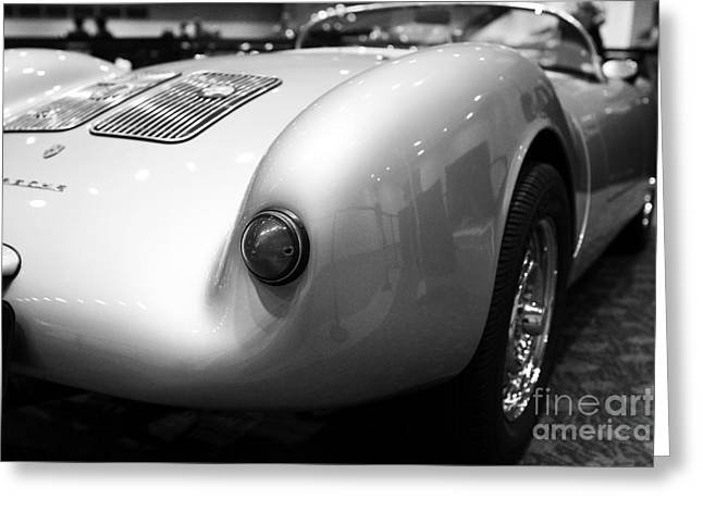Wingsdomain Greeting Cards - 1955 Porsche 550 RS Spyder . Black and White Photograph . 7D9453 Greeting Card by Wingsdomain Art and Photography