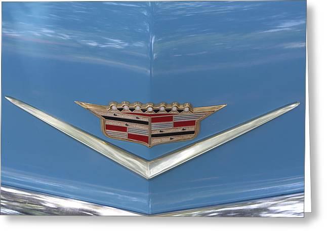 1956 Cadillac Emblem Greeting Card by Linda Phelps