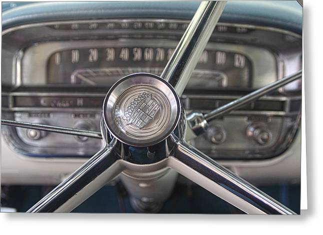 Grau Greeting Cards - 1956 Cadillac Steering Wheel Greeting Card by Linda Phelps