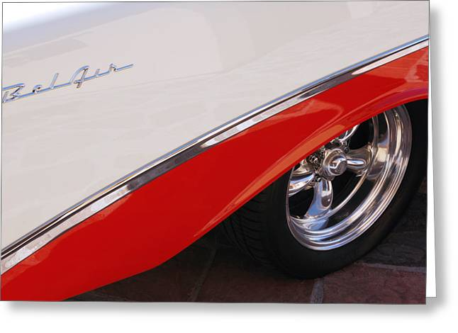 White Chevy Greeting Cards - 1956 Chevrolet Belair Convertible Wheel Greeting Card by Jill Reger