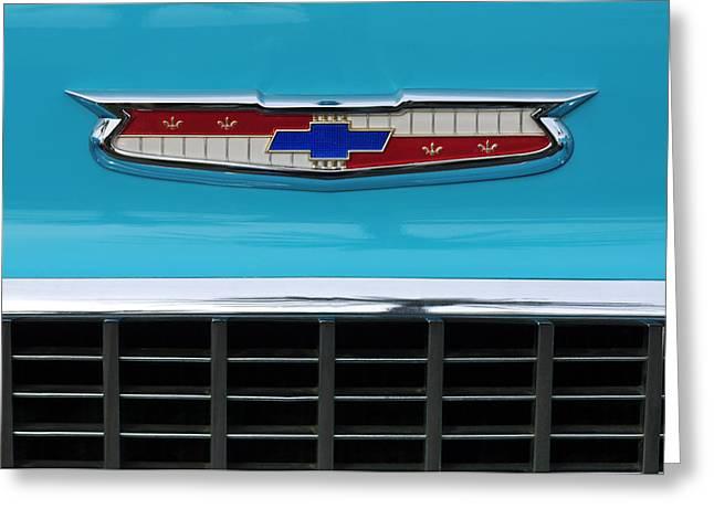 1956 Chevrolet Belair Nomad Grille Emblem Greeting Card by Jill Reger