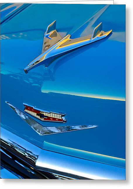 Vintage Hood Ornament Greeting Cards - 1956 Chevrolet Hood Ornament 4 Greeting Card by Jill Reger