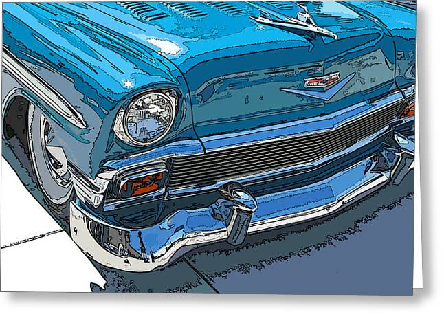 Samuel Sheats Greeting Cards - 1956 Chevy Bel Air Nose Study Greeting Card by Samuel Sheats
