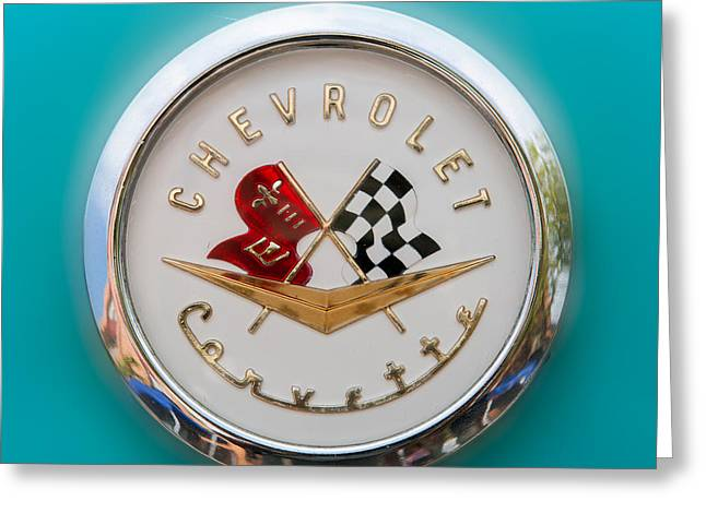 1956 Corvette Hood Ornament Greeting Card by Clarence Holmes