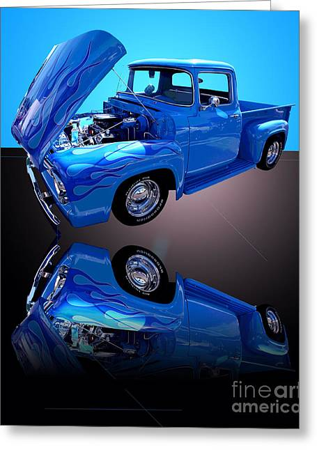 1956 Ford Truck Greeting Cards - 1956 Ford Blue Pick-up Greeting Card by Jim Carrell