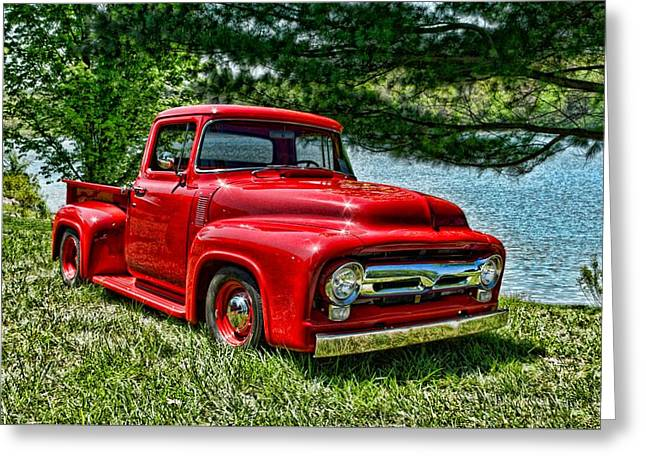 1956 Ford Truck Greeting Cards - 1956 Ford F100 Pickup Truck Greeting Card by Tim McCullough