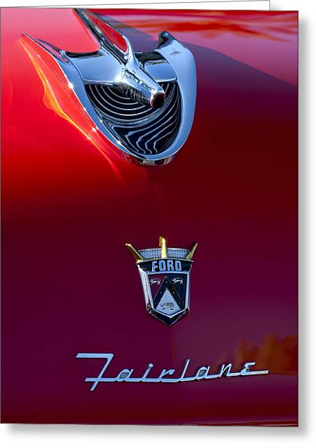 Recently Sold -  - Collector Hood Ornament Greeting Cards - 1956 Ford Fairlane Hood Ornament 4 Greeting Card by Jill Reger