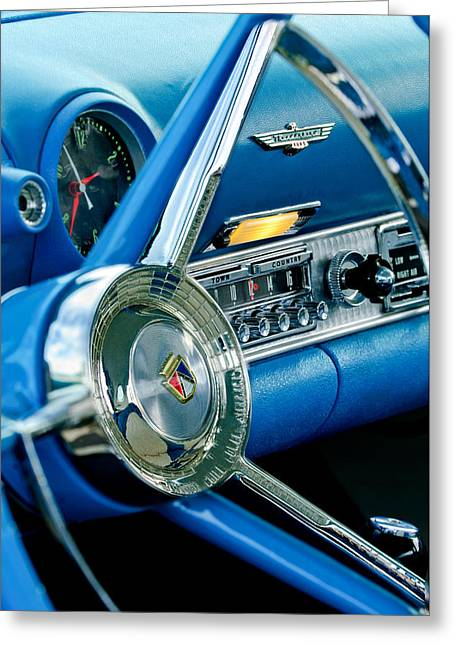 Steering Greeting Cards - 1956 Ford Thunderbird Steering Wheel and Emblem Greeting Card by Jill Reger