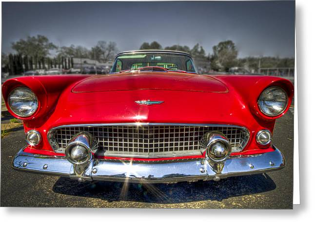 Candy Apples Greeting Cards - 1956 T-Bird Greeting Card by Debra and Dave Vanderlaan