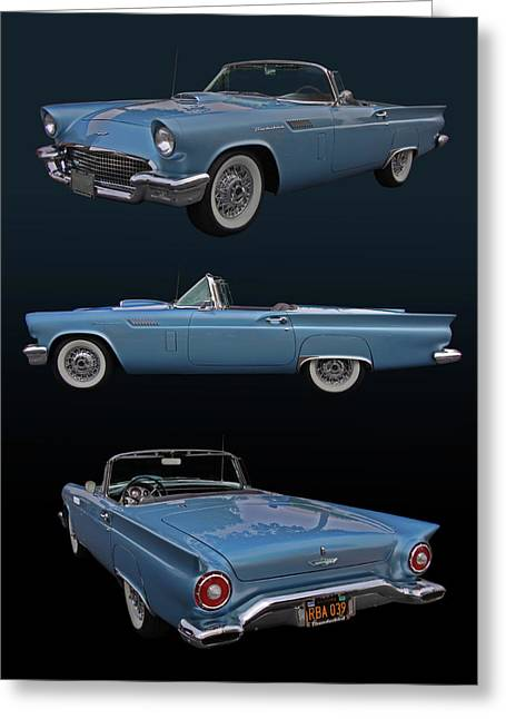 Slammer Greeting Cards - 1957 Ford Thunderbird Greeting Card by Bill Dutting