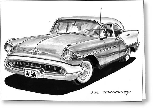 80s Greeting Cards - 1957 Oldsmobile Super 88 Greeting Card by Jack Pumphrey