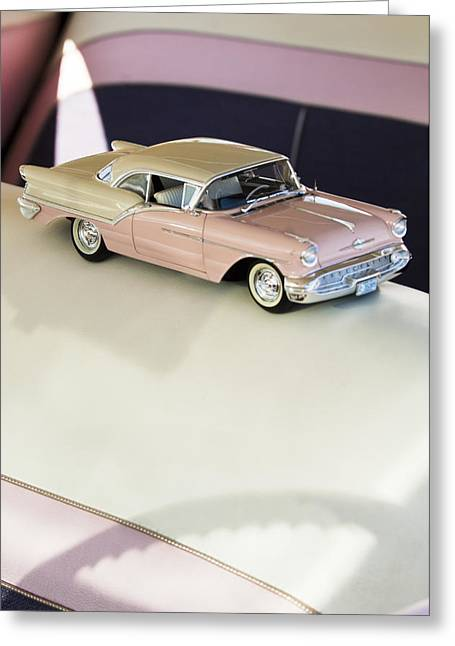Collectors Toys Photographs Greeting Cards - 1957 Oldsmobile Super 88 Matchbox Car Greeting Card by Jill Reger