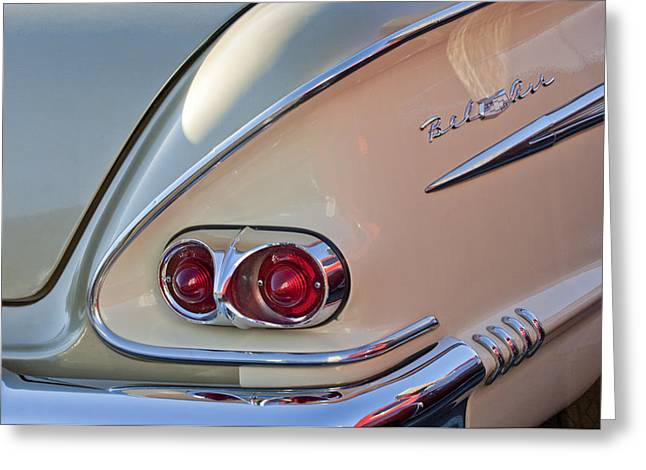 Taillights Greeting Cards - 1958 Chevrolet Belair Taillight Greeting Card by Jill Reger
