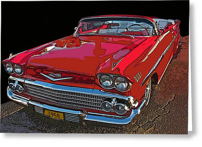 Samuel Sheats Greeting Cards - 1958 Red Chevrolet Impala Convertible Greeting Card by Samuel Sheats