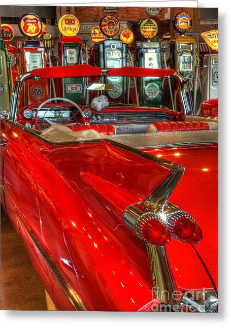 Canadian Photographer Greeting Cards - 1959 Cadillac At The Pumps Greeting Card by Bob Christopher