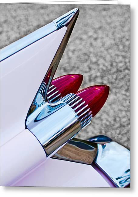 1950-1959 Greeting Cards - 1959 Cadillac Eldorado Tail Fin Greeting Card by Jill Reger