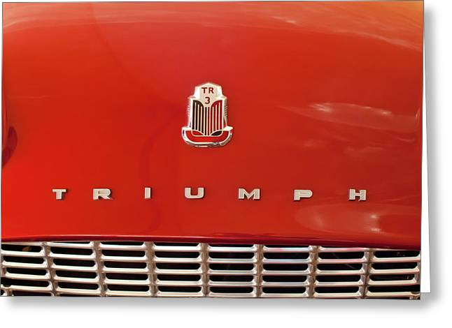 Car Mascot Greeting Cards - 1960 Triumph TR3 Emblem Greeting Card by Jill Reger