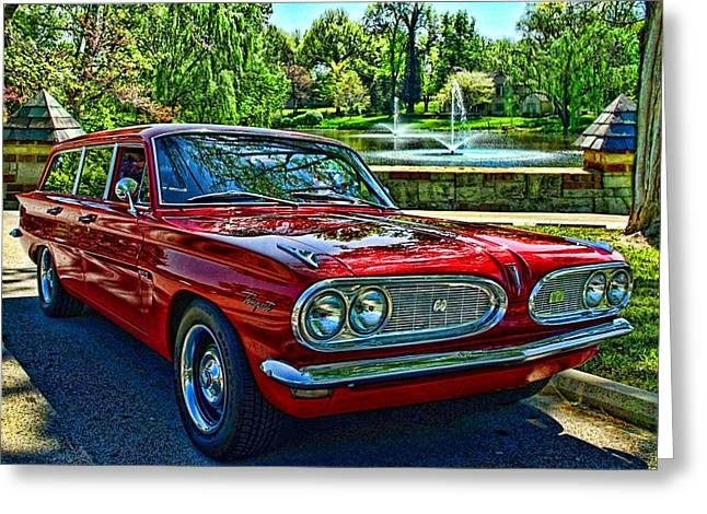 Station Wagon Greeting Cards - 1961 Pontiac Tempest Station Wagon Greeting Card by Tim McCullough