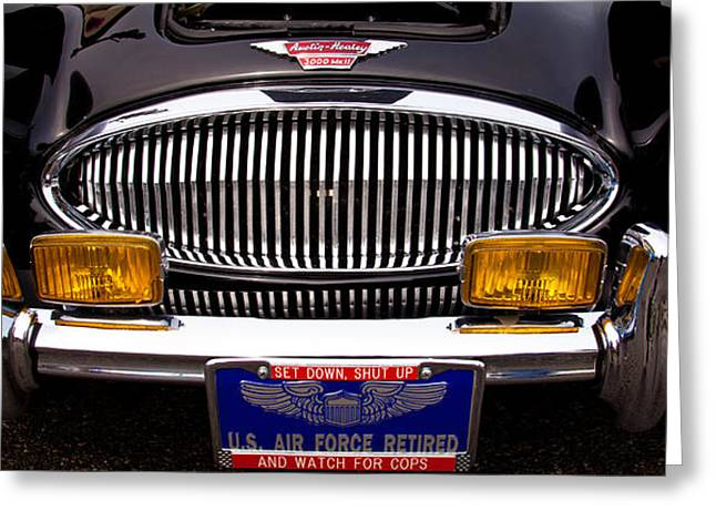 Radiator Badge Greeting Cards - 1962 Austin Healey 3000 MkII Greeting Card by David Patterson