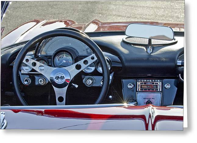 Famous Photographers Greeting Cards - 1962 Chevrolet Corvette Steering Wheel Greeting Card by Jill Reger