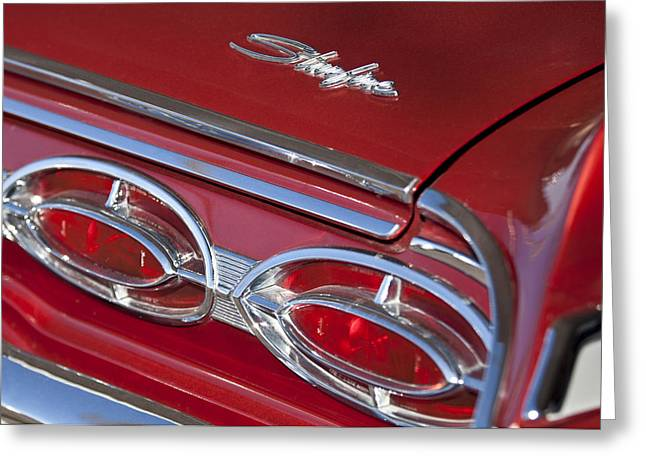 Starfire Photographs Greeting Cards - 1962 Oldsmobile Starfire Hardtop Taillights and Emblems Greeting Card by Jill Reger