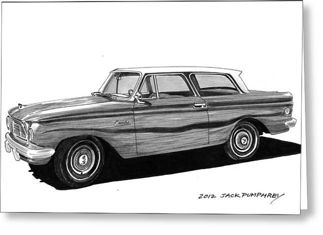 Pen And Ink Framed Prints Greeting Cards - 1962 Rambler American Greeting Card by Jack Pumphrey