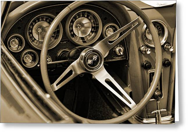 Carlisle Greeting Cards - 1963 Chevrolet Corvette Steering Wheel - Sepia Greeting Card by Gordon Dean II