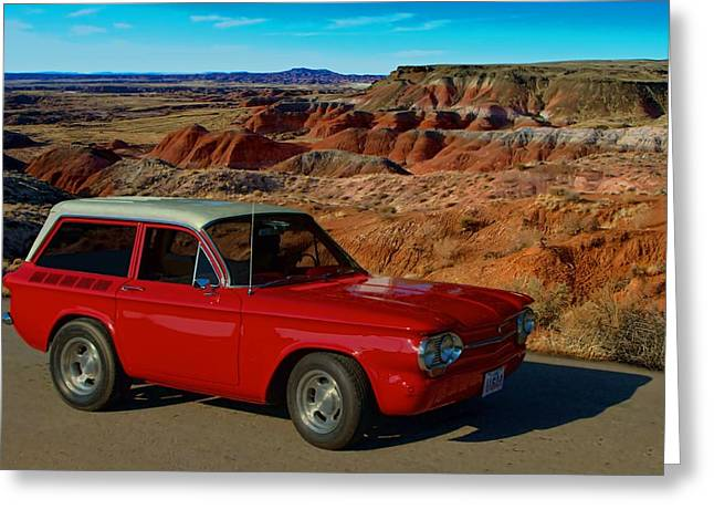Station Wagon Greeting Cards - 1963 Corvair Stubby Station Wagon Greeting Card by Tim McCullough