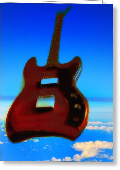 Red Guitar Digital Art Greeting Cards - 1963 Guild Jet Star Greeting Card by Bill Cannon