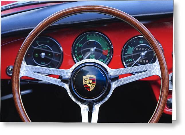 Wheels Greeting Cards - 1964 Porsche C Steering Wheel Greeting Card by Jill Reger
