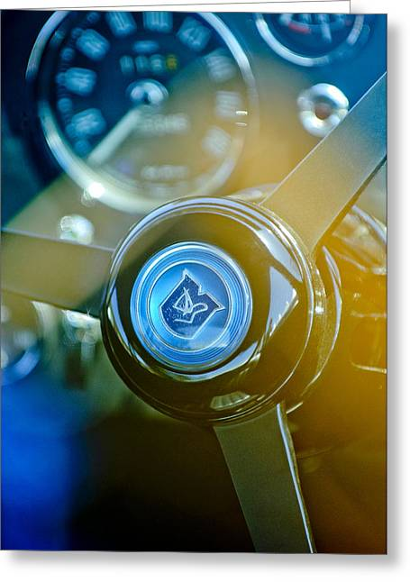 Wheels Greeting Cards - 1965 Aston Martin DB5 Coupe RHD Steering Wheel Greeting Card by Jill Reger