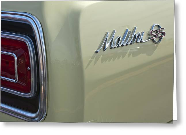 Chevelle Greeting Cards - 1965 Chevrolet Chevelle Malibu SS Emblem and Taillight Greeting Card by Jill Reger