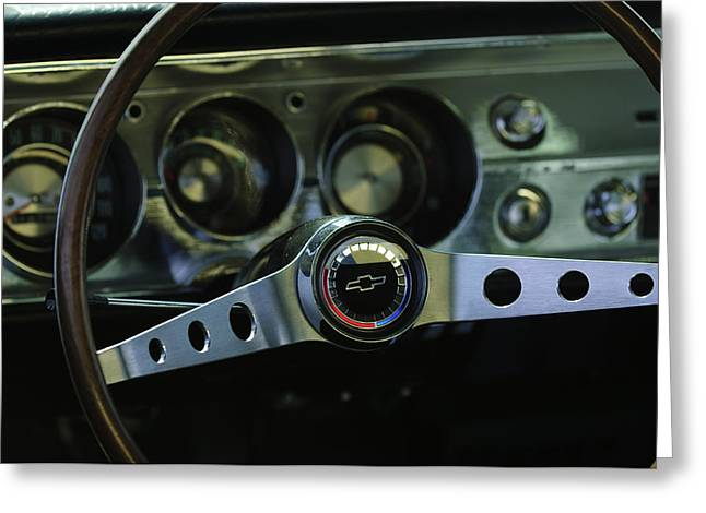 1965 Chevrolet Chevelle Malibu Ss Steering Wheel Greeting Card by Jill Reger
